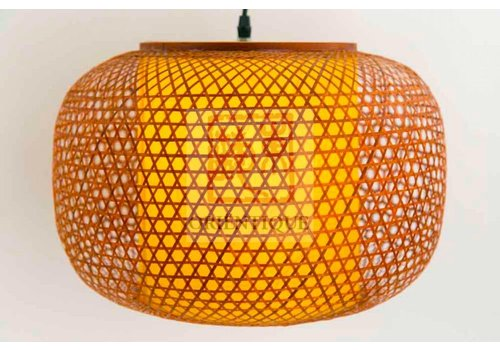 Fine Asianliving Japanese Bamboo Webbing Lamp Shiroi D42xH30cm