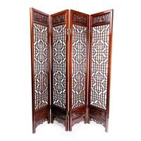 Antiek Chinees Kamerscherm Handgesneden 4 Panel