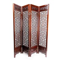 Fine Asianliving Chinese Room Divider Handcrafted 4 Panel