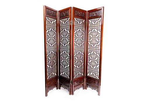 Fine Asianliving Antieke Chinese Kamerscherm Handgesneden 4 Panel