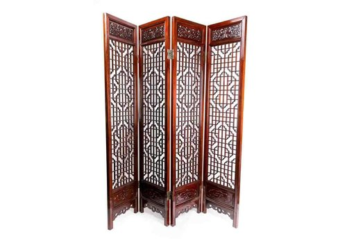 Fine Asianliving Antique Chinese Room Divider Handcrafted 4 Panel