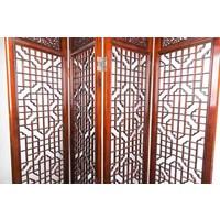 Antieke Chinese Kamerscherm Handgesneden 4 Panel