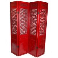 Chinesischer Raumteiler Trennwand Holz 4-teilig Handgeschnitzt Rot