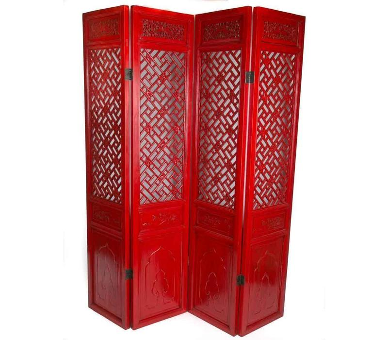 Fine Asianliving Chinese Room Divider 4 Panel Hand-carved Red