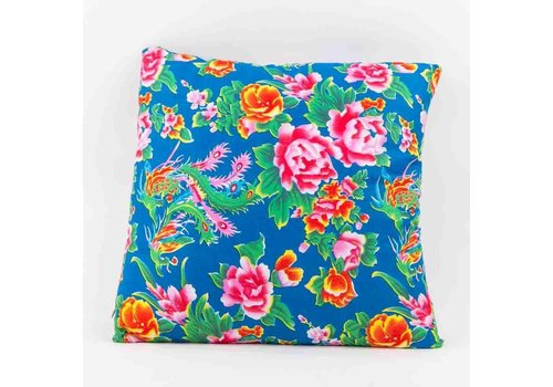 Fine Asianliving Chinese Cushion Cover 40x40cm Traditional Dongbei Flowers Blue