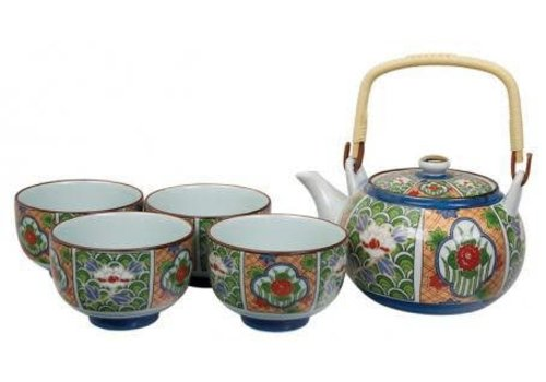 Fine Asianliving Tea Set Arita Green Flower
