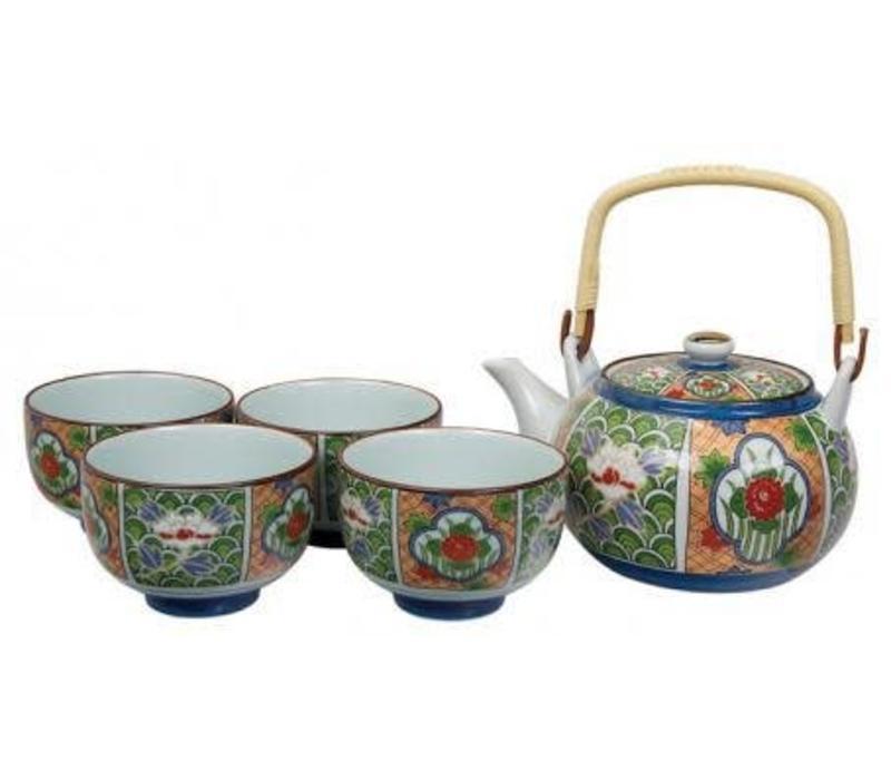 Tea Set Arita Green Flower