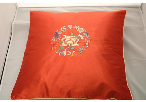 Fine Asianliving Chinese Cushion Red Flowers 40x40cm