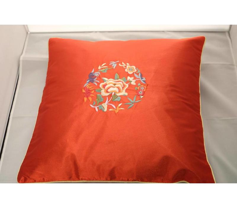 Chinese Cushion Red Flowers 40x40cm