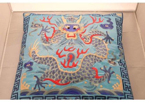 Fine Asianliving Chinese Kussen Volledig Geborduurd Lichtblauw Draak 40x40cm