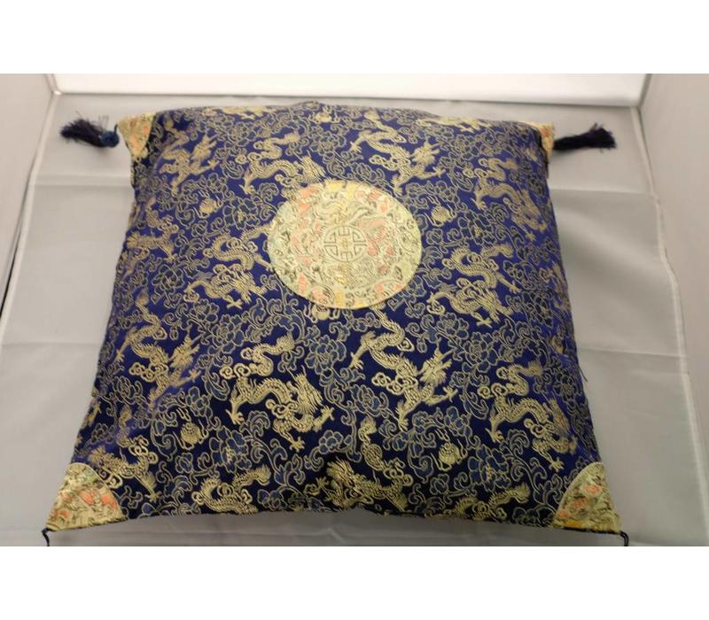 Chinese Cushion Black with Gold Tassels 40x40cm
