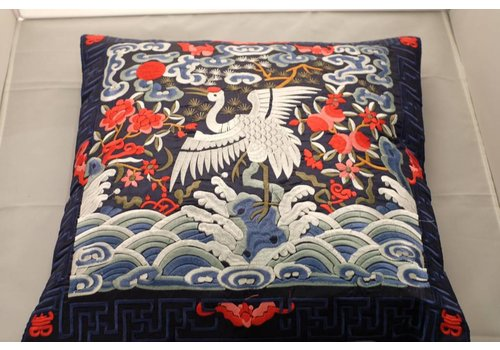 Fine Asianliving Chinese Cushion Hand-embroidered Dark Blue Crane 40x40cm
