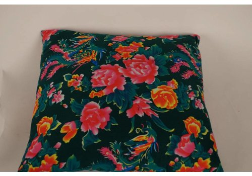 Fine Asianliving Chinese Cushion Catoen Flowers Green