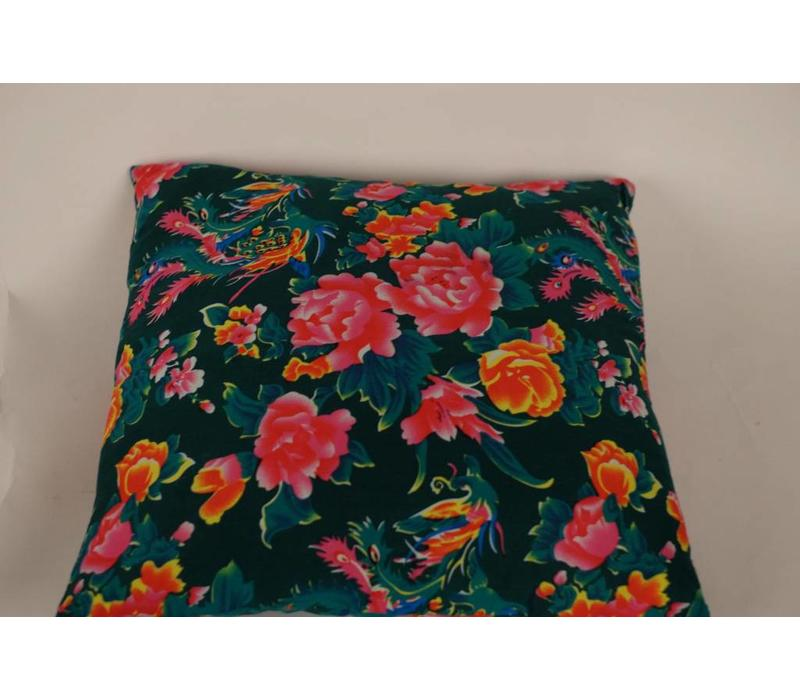 Chinese Cushion 40x40cm Traditional Dongbei Flowers Green
