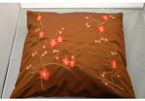 Fine Asianliving Chinese Cushion Sakura Cherryblossoms Brown 40x40cm