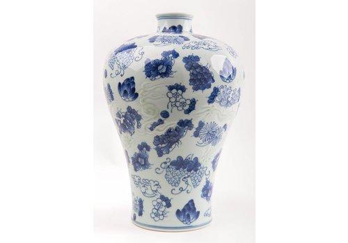 Fine Asianliving Chinese Vaas Porselein Handbeschilderd Blauw-Wit