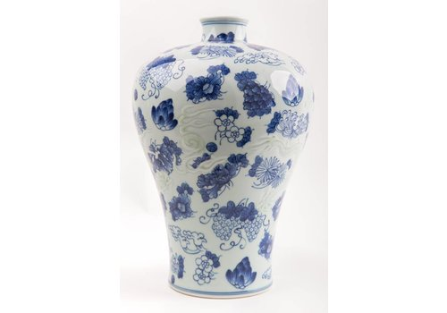 Fine Asianliving Chinesische Vase Porzellan Handbemalt Blau und Weiß