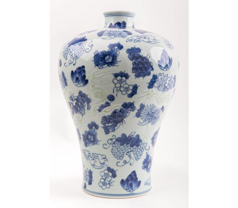 Chinese Vaas Porselein Handbeschilderd Blauw-Wit