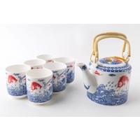 Fine Asianliving Chinese Tea Set Porcelain Handmade Koi Fishes 7pcs