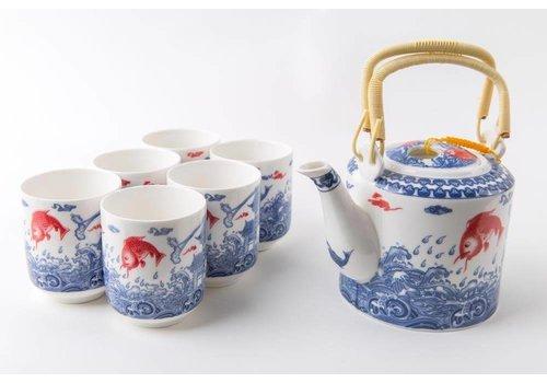 Fine Asianliving Fine Asianliving Orientalisches Teeservice Porzellan Handgemachte Koi Fisch Blau-Weiss 7st