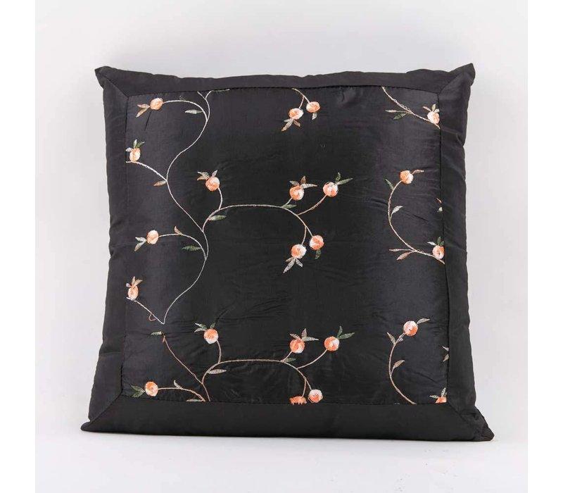 Chinees Kussen Zijde Geborduurde Bloemen Zwart 40x40cm