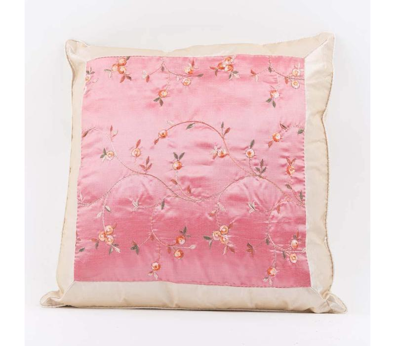 Chinese Cushion Silk Embroidered Flowers Pink 40x40cm
