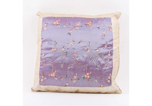Fine Asianliving Chinese Cushion Silk GePlateuurde Flowers Lila 40x40cm
