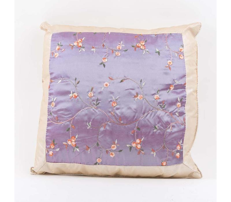 Chinese Cushion Silk Embroidered Flowers Lila 40x40cm
