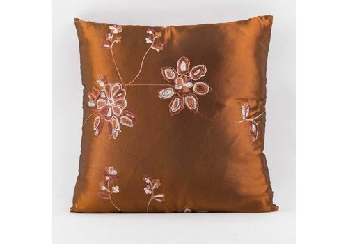 Fine Asianliving Chinese Cushion Silk Embroidered Flowers Brown 40x40cm