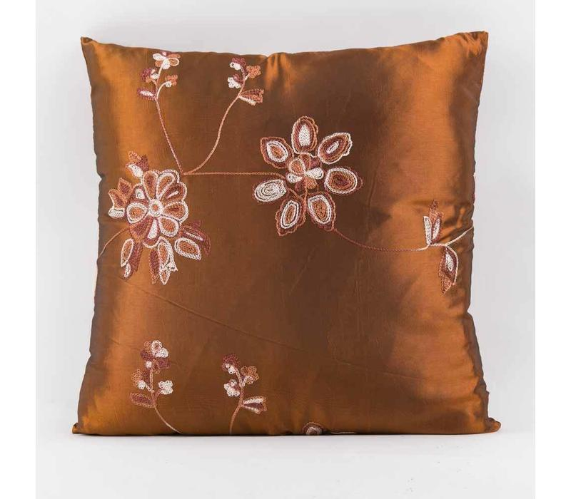 Chinese Cushion Silk Embroidered Flowers Brown 40x40cm