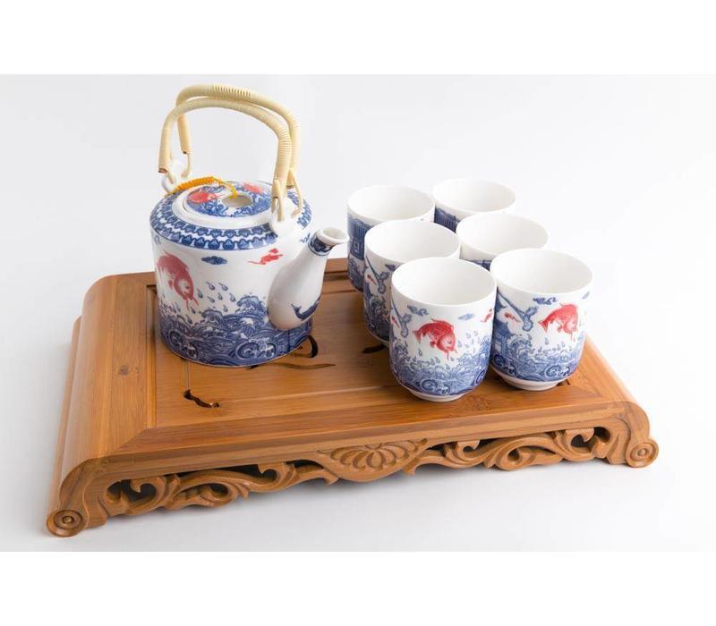 Fine Asianliving Chinese Thee Set Porselein Koi Vissen 7-delig
