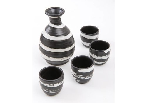 Fine Asianliving Japanse Sake Set Zwart-Wit