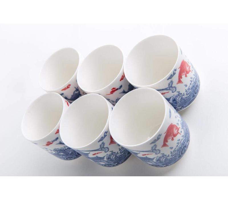 Orientalisches Teeservice Porzellan Handgemachte Koi Fisch Blau-Weiss 7st