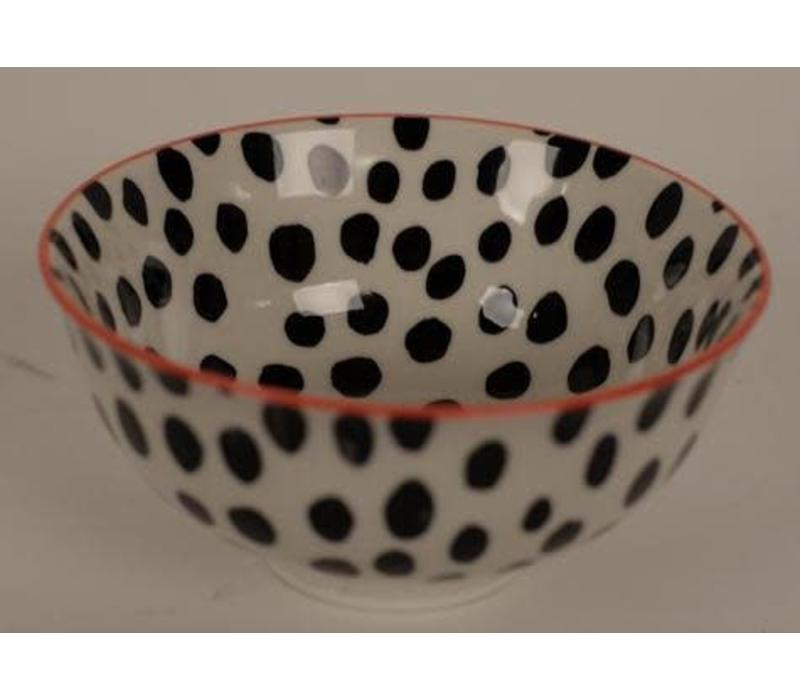 Japanese Tableware Black White Gestippeld