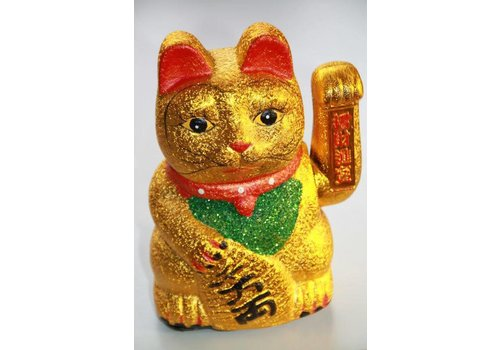 Fine Asianliving Chinese Lucky Cat Gold Glitter Waving 18cm