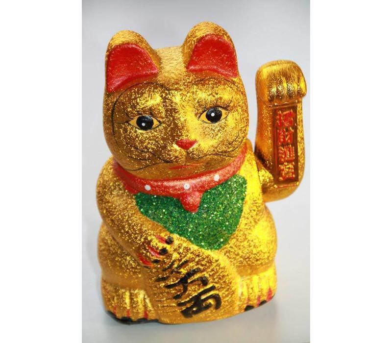 Japanische Winkekatze Maneki Neko Glitzer Gold Klein