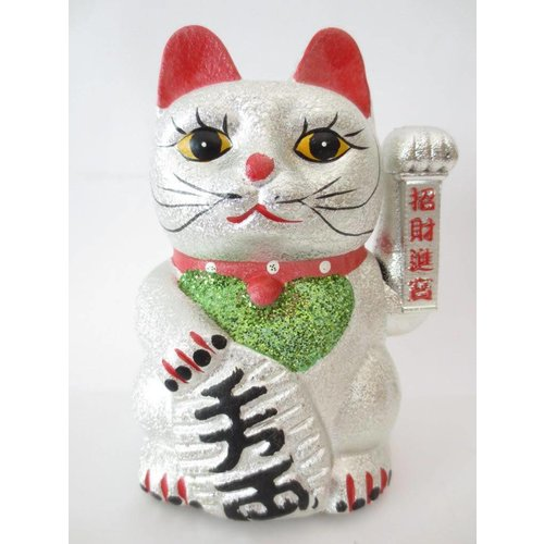 Lucky Cat Glitter Silver Large