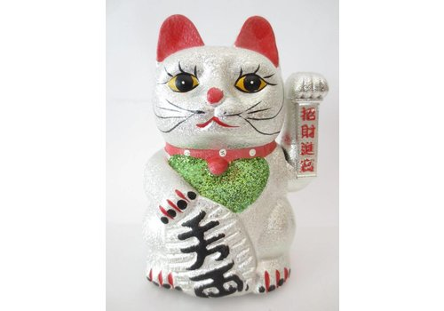 Fine Asianliving Japanese Lucky Cat Glitter Silver Medium