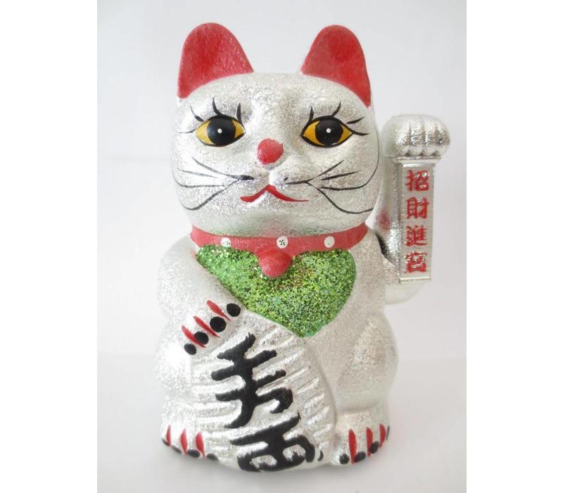 Japanse Lucky Cat Glitter Zilver Middel