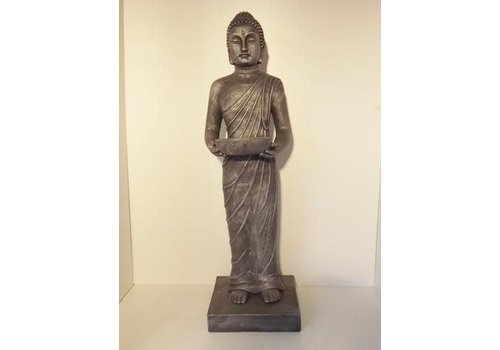 Fine Asianliving Garden Boeddha Staand met Offerschaal Antique Silver 100 cm