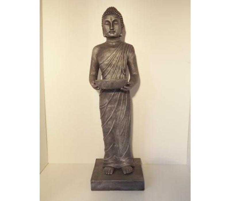 Garden Buddha Standing White OfferPlate Antique Silver 100 cm
