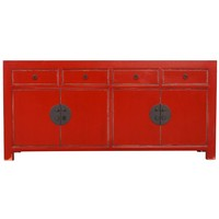 Fine Asianliving Chinese Sideboard Chest of Drawers Dresser Cabinet L180xW40xH85cm Lucky Red