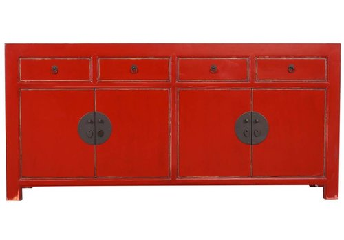 Fine Asianliving Fine Asianliving Chinese Sideboard Chest of Drawers Dresser Cabinet L180xW40xH85cm Lucky Red