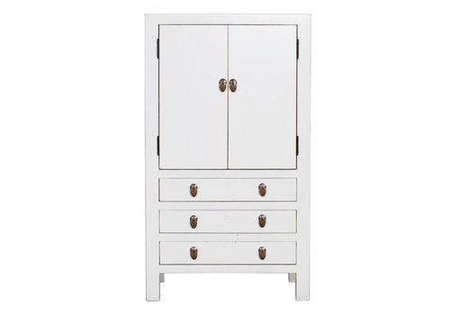 Fine Asianliving Fine Asianliving Chinese Cabinet With Three Drawers & Two Doors White