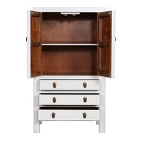 Fine Asianliving Chinese Cabinet With Three Drawers & Two Doors White