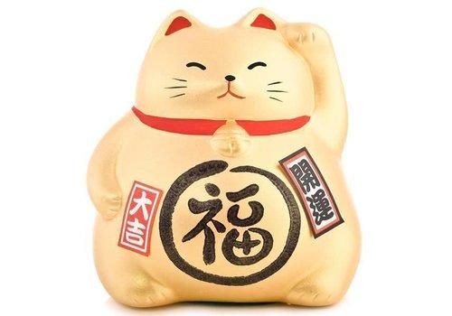 Fine Asianliving Chat Porte-Bonheur Maneki Neko d'Or - Meilleure Fortune