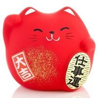 Lucky Cat Maneki Neko Klein - Career Rood 5.5cm