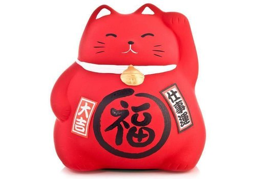 Fine Asianliving Lucky Cat Maneki Neko Red - Work