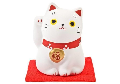 Fine Asianliving Lucky Cat Maneki Neko White