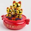 Fine Asianliving Lucky Cat Maneki Neko Solar Energy Gold